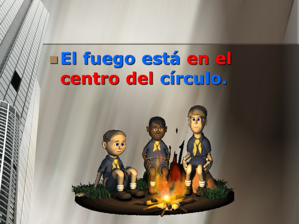 El fuego está en el centro del círculo. El fuego está en el centro del círculo.