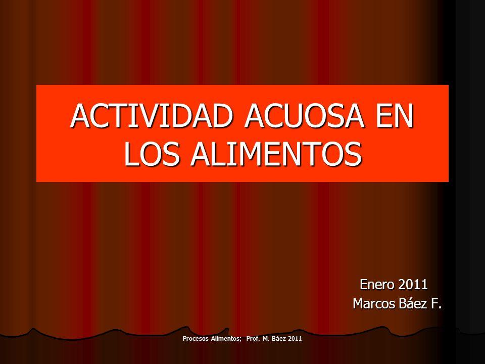 Procesos Alimentos; Prof. M. Báez 2011 ACTIVIDAD ACUOSA EN LOS ALIMENTOS Enero 2011 Enero 2011 Marcos Báez F. Marcos Báez F.