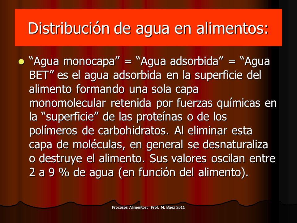 Procesos Alimentos; Prof. M. Báez 2011 Distribución de agua en alimentos: Agua monocapa = Agua adsorbida = Agua BET es el agua adsorbida en la superfi
