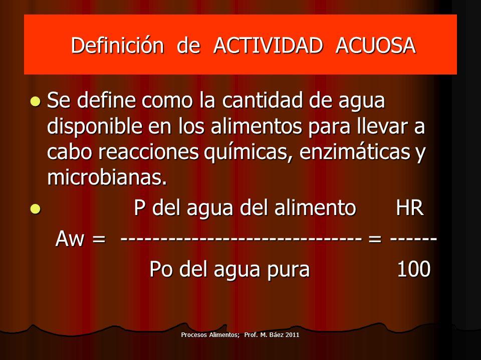 Definición de ACTIVIDAD ACUOSA Definición de ACTIVIDAD ACUOSA Se define como la cantidad de agua disponible en los alimentos para llevar a cabo reacci