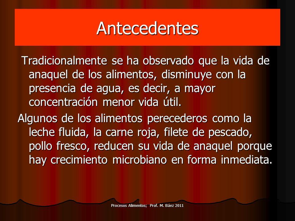 Procesos Alimentos; Prof. M. Báez 2011 Antecedentes Tradicionalmente se ha observado que la vida de anaquel de los alimentos, disminuye con la presenc