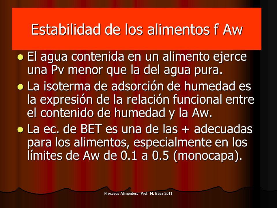 Procesos Alimentos; Prof. M. Báez 2011 Estabilidad de los alimentos f Aw El agua contenida en un alimento ejerce una Pv menor que la del agua pura. El