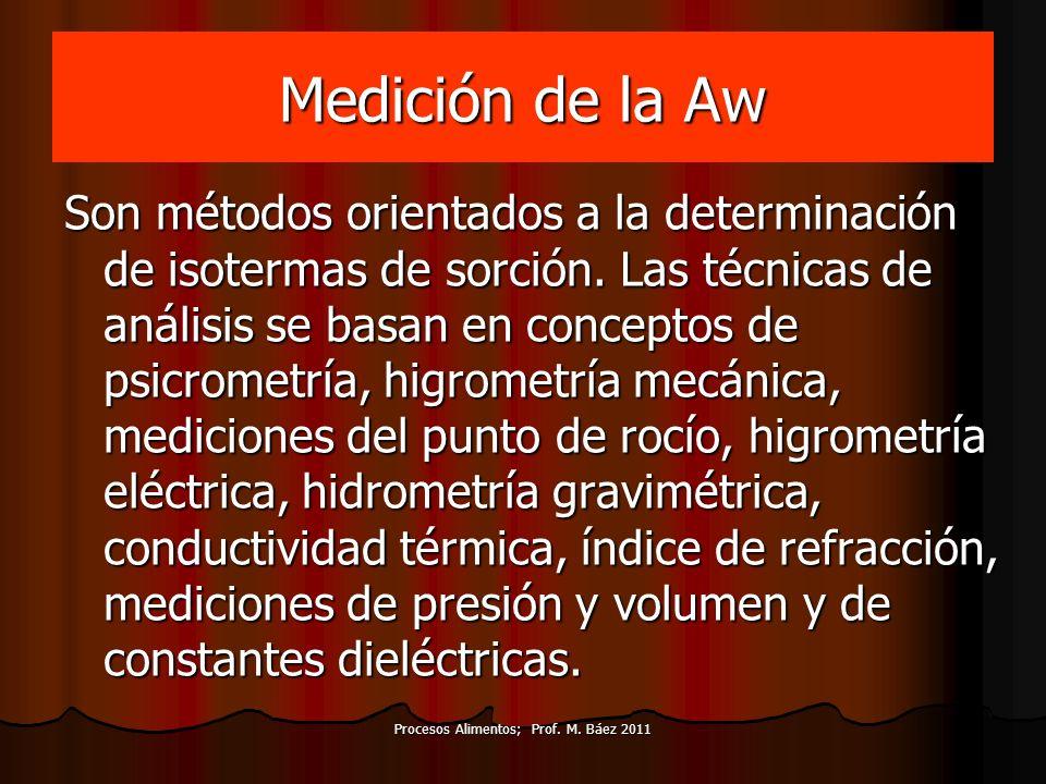 Medición de la Aw Son métodos orientados a la determinación de isotermas de sorción. Las técnicas de análisis se basan en conceptos de psicrometría, h