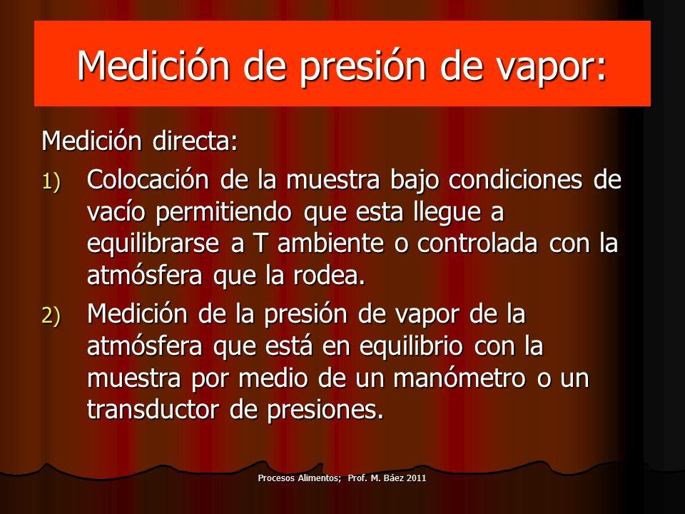Procesos Alimentos; Prof. M. Báez 2011 Medición de presión de vapor: Medición directa: 1) Colocación de la muestra bajo condiciones de vacío permitien