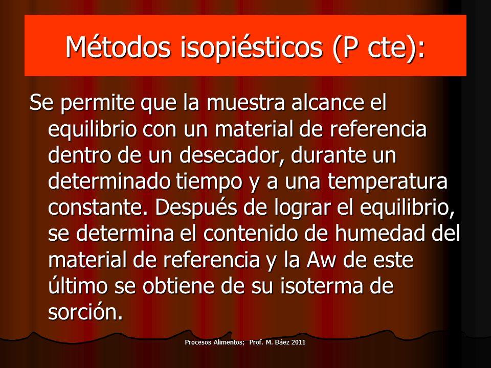 Procesos Alimentos; Prof. M. Báez 2011 Métodos isopiésticos (P cte): Se permite que la muestra alcance el equilibrio con un material de referencia den