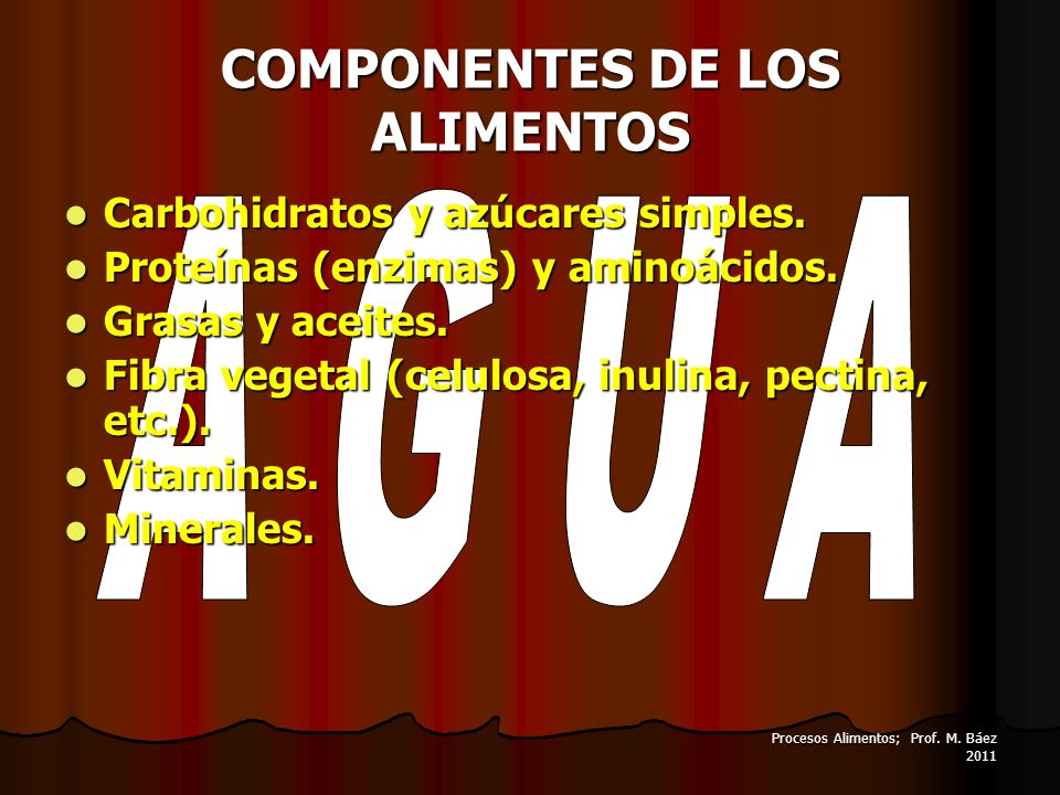 Procesos Alimentos; Prof. M. Báez 2011 COMPONENTES DE LOS ALIMENTOS Carbohidratos y azúcares simples. Carbohidratos y azúcares simples. Proteínas (enz