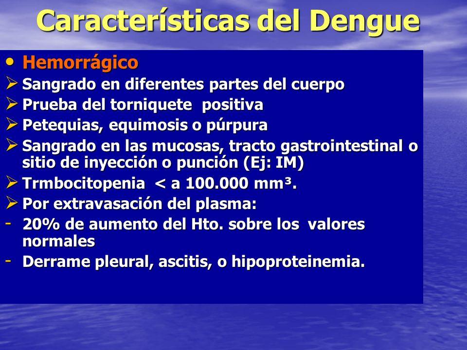 Características del Dengue Clásico Clásico Fiebre de inicio agudo con ausencia de síntomas respiratorios y duración limitada de 2 – 7 días Fiebre de inicio agudo con ausencia de síntomas respiratorios y duración limitada de 2 – 7 días Dolor intenso Dolor intensoMialgias Cefalea, dolor retroocular Artralgias Rash o exantema máculopapular Rash o exantema máculopapular Petequias en la piel u otras manifestaciones hemorrágicas Petequias en la piel u otras manifestaciones hemorrágicas