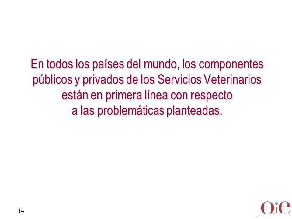14 En todos los países del mundo, los componentes públicos y privados de los Servicios Veterinarios están en primera línea con respecto a las problemá