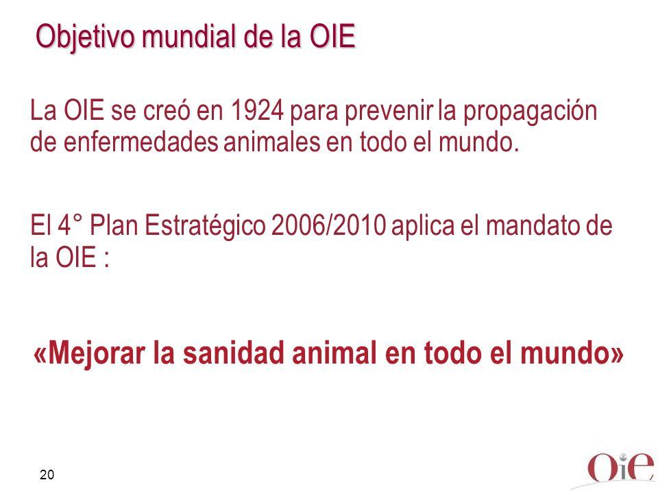 20 Objetivo mundial de la OIE La OIE se creó en 1924 para prevenir la propagación de enfermedades animales en todo el mundo. El 4° Plan Estratégico 20