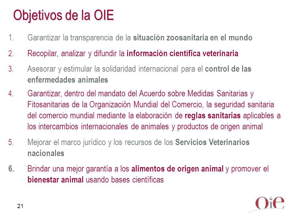 21 Objetivos de la OIE 1.Garantizar la transparencia de la situación zoosanitaria en el mundo 2. Recopilar, analizar y difundir la información científ