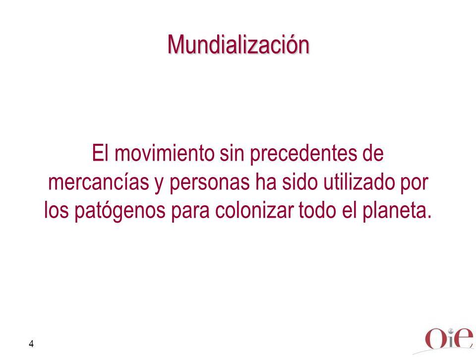 4 El movimiento sin precedentes de mercancías y personas ha sido utilizado por los patógenos para colonizar todo el planeta. Mundialización