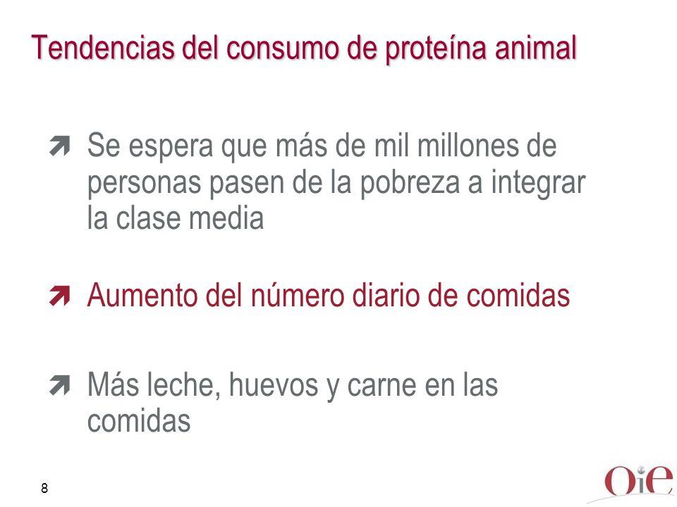 8 Tendencias del consumo de proteína animal Se espera que más de mil millones de personas pasen de la pobreza a integrar la clase media Aumento del nú