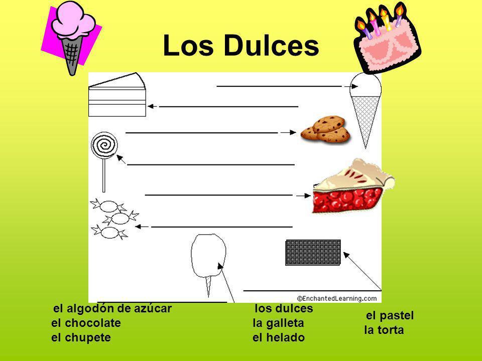 Los Dulces el algodón de azúcar el chocolate el chupete los dulces la galleta el helado el pastel la torta