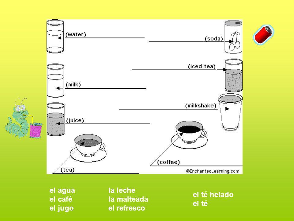 el agua el café el jugo la leche la malteada el refresco el té helado el té