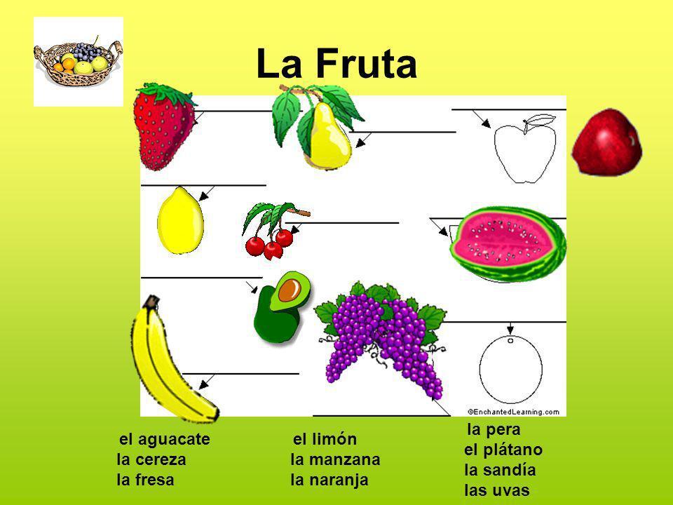 La Fruta el aguacate la cereza la fresa el limón la manzana la naranja la pera el plátano la sandía las uvas