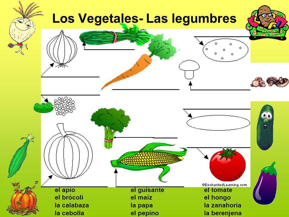 Los Vegetales- Las legumbres el apio el brócoli la calabaza la cebolla el guisante el maíz la papa el pepino el tomate el hongo la zanahoria la berenj