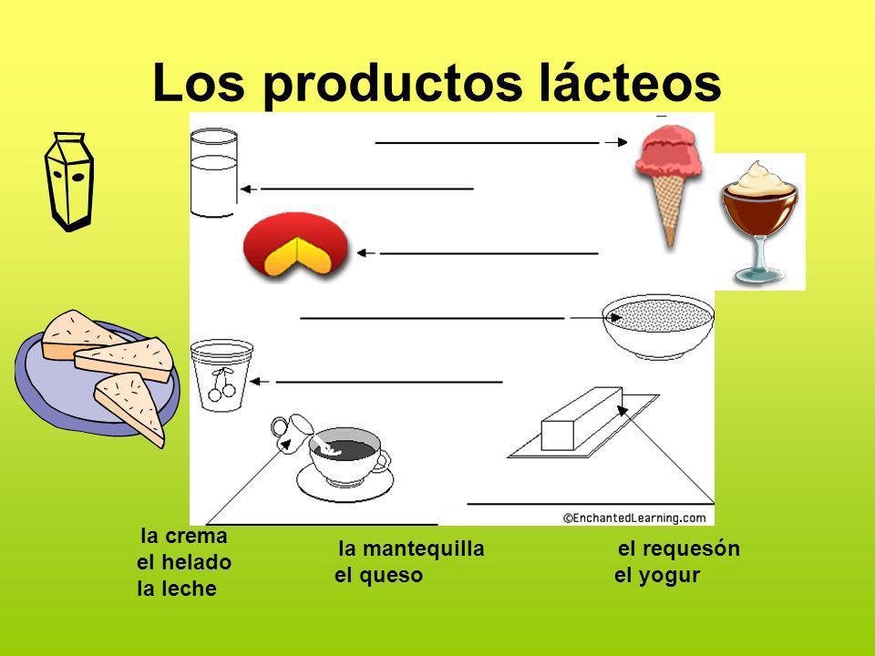 Los productos lácteos la crema el helado la leche la mantequilla el queso el requesón el yogur