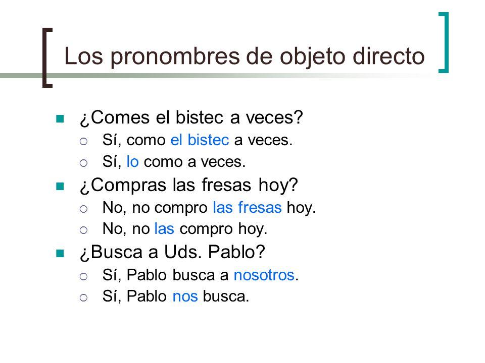 Los pronombres de objeto directo me me te you lo you, him, it la you, her, it nos us los you, them las you, them