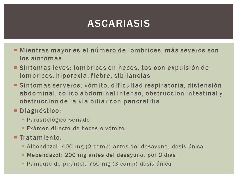 Mientras mayor es el número de lombrices, más severos son los síntomas Síntomas leves: lombrices en heces, tos con expulsión de lombrices, hiporexia,