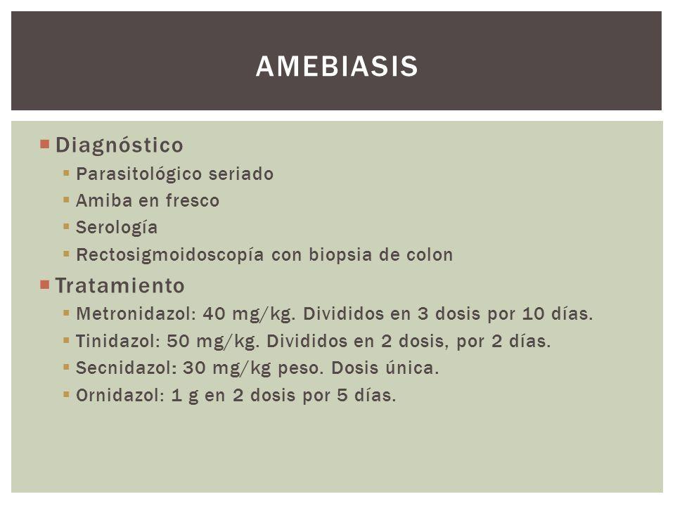 Diagnóstico Parasitológico seriado Amiba en fresco Serología Rectosigmoidoscopía con biopsia de colon Tratamiento Metronidazol: 40 mg/kg. Divididos en
