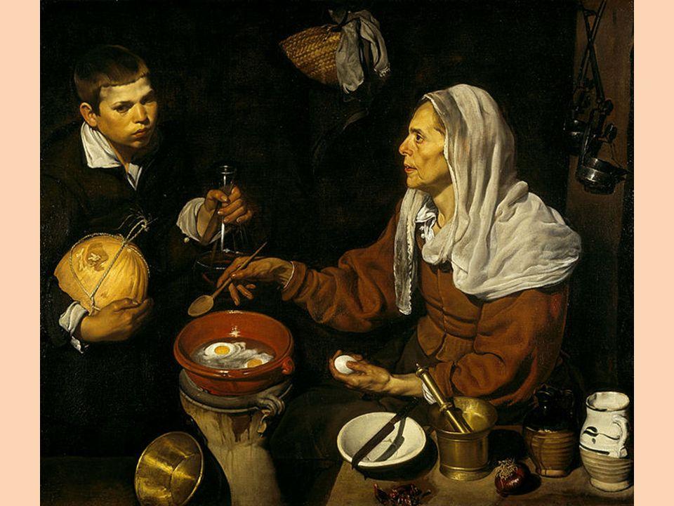 ANÁLISIS TÉCNICA Y ESTILO DESCRIPCIÓN DE LA(S) TÉCNICA(S) UTILIZADA(S) COMENTARIO SOBRE EL ESTILO DE LA OBRA/AUTOR Como todas las obras de Velázquez de esta etapa, el estilo de la misma es el naturalismo tenebrista, estilo que de cierto modo adopta de Caravaggio y en el que las figuras aparecen en un primer plano, destacando sobre el fondo oscuro, fuertemente iluminadas por un foco de luz único, externo al cuadro y que normalmente entra por la izquierda del mismo.