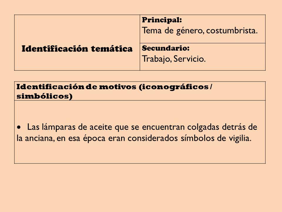 Identificación temática Principal: Tema de género, costumbrista. Secundario: Trabajo, Servicio. Identificación de motivos (iconográficos / simbólicos)