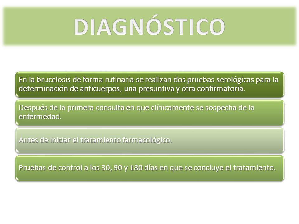 En la brucelosis de forma rutinaria se realizan dos pruebas serológicas para la determinación de anticuerpos, una presuntiva y otra confirmatoria. Des