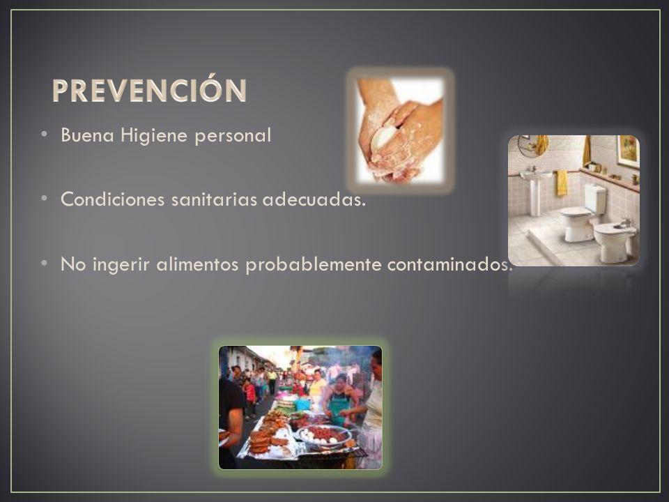 Buena Higiene personal Condiciones sanitarias adecuadas. No ingerir alimentos probablemente contaminados.