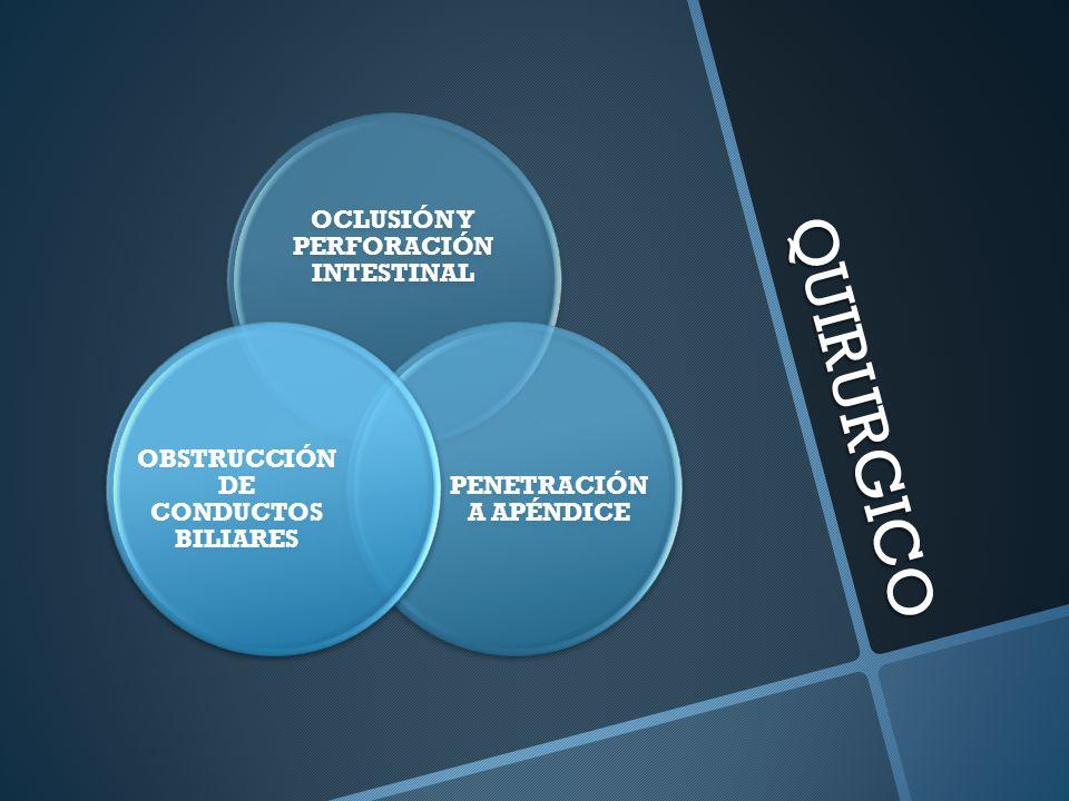 QUIRURGICO OCLUSIÓN Y PERFORACIÓN INTESTINAL PENETRACIÓN A APÉNDICE OBSTRUCCIÓN DE CONDUCTOS BILIARES