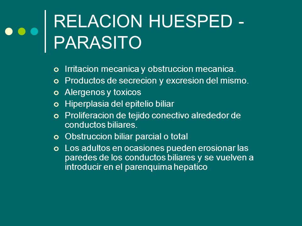 RELACION HUESPED - PARASITO Irritacion mecanica y obstruccion mecanica. Productos de secrecion y excresion del mismo. Alergenos y toxicos Hiperplasia