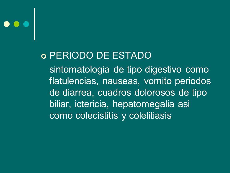 PERIODO DE ESTADO sintomatologia de tipo digestivo como flatulencias, nauseas, vomito periodos de diarrea, cuadros dolorosos de tipo biliar, ictericia