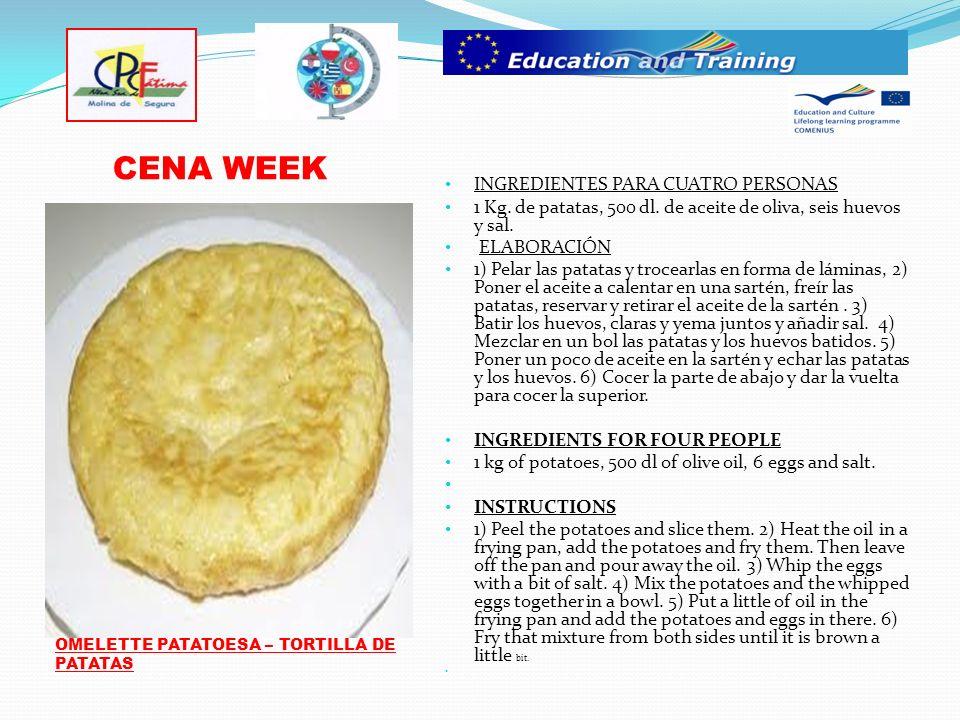 CENA WEEK INGREDIENTES PARA CUATRO PERSONAS 1 Kg. de patatas, 500 dl.