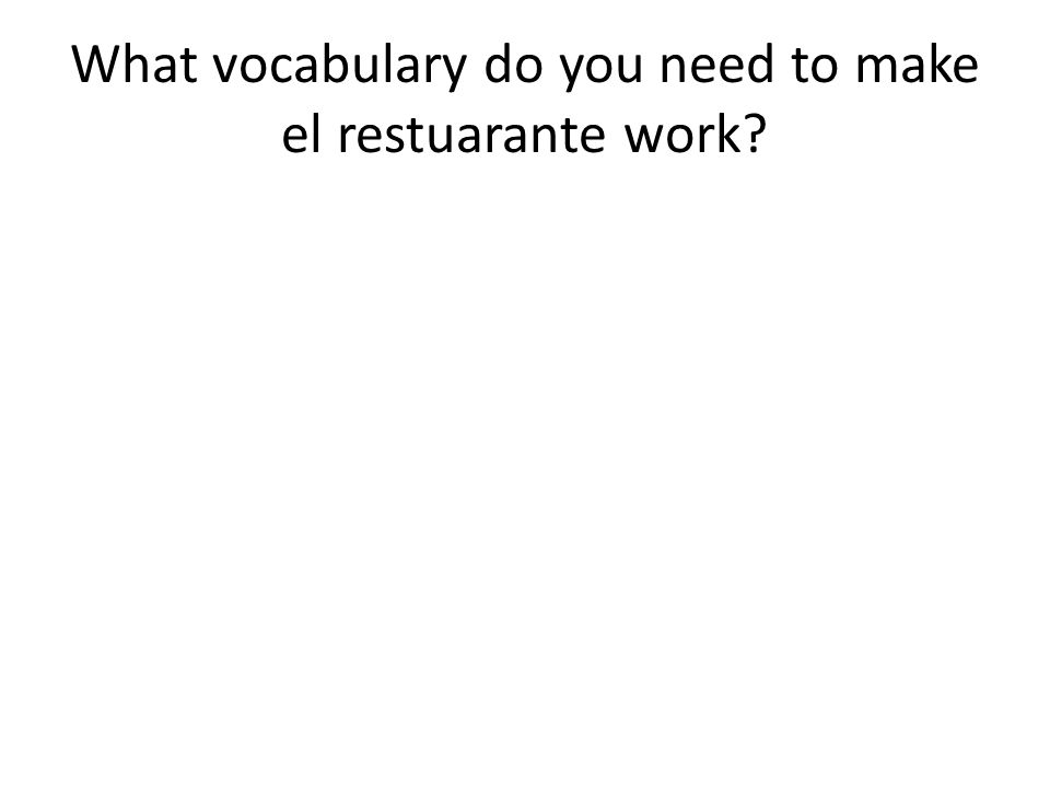 What vocabulary do you need to make el restuarante work?