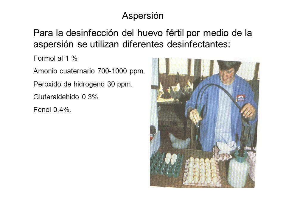 Aspersión Para la desinfección del huevo fértil por medio de la aspersión se utilizan diferentes desinfectantes: Formol al 1 % Amonio cuaternario 700-1000 ppm.