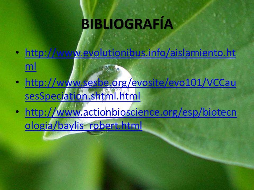 BIBLIOGRAFÍA http://www.evolutionibus.info/aislamiento.ht ml http://www.evolutionibus.info/aislamiento.ht ml http://www.sesbe.org/evosite/evo101/VCCau