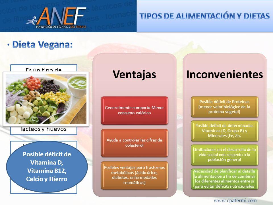 www.cpatermi.com Ventajas Generalmente comporta Menor consumo calórico Ayuda a controlar las cifras de colesterol Posibles ventajas para trastornos me