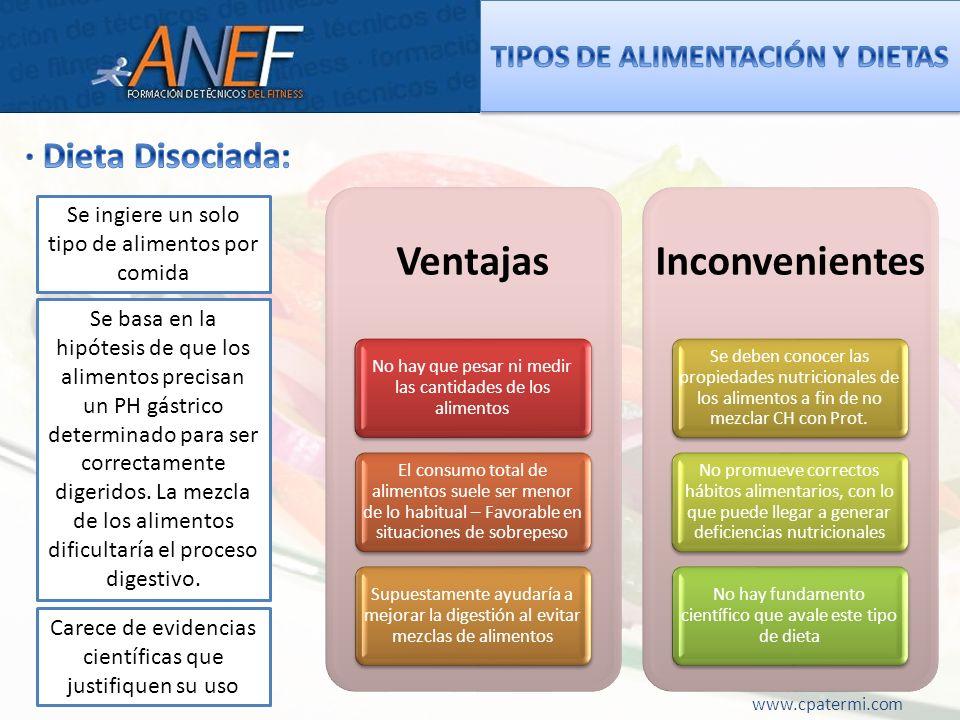 www.cpatermi.com Ventajas No hay que pesar ni medir las cantidades de los alimentos El consumo total de alimentos suele ser menor de lo habitual – Fav