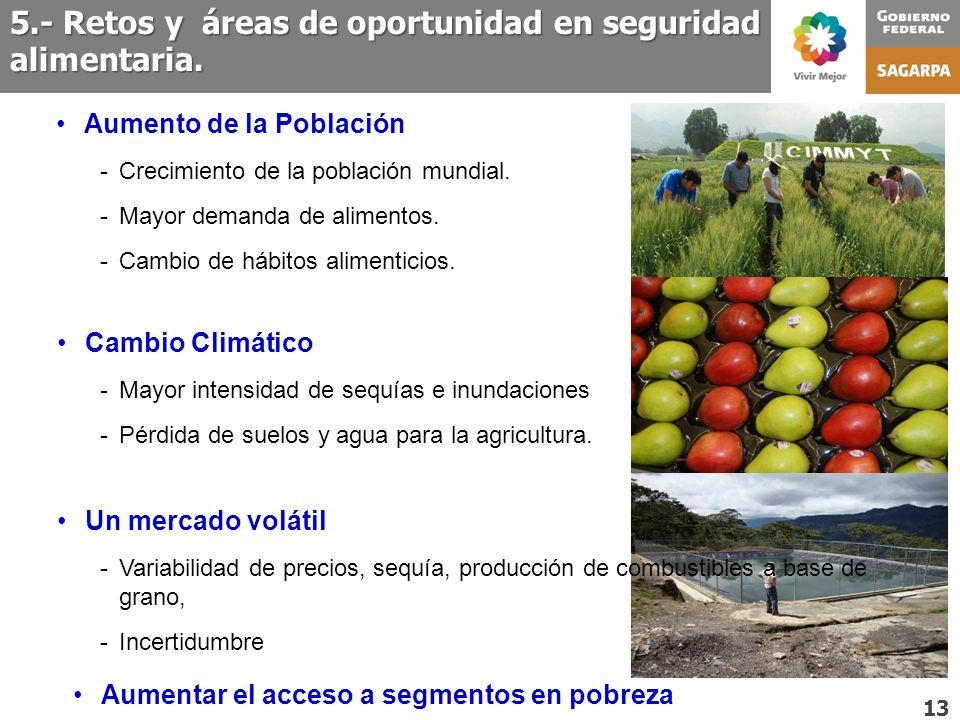 5.- Retos y áreas de oportunidad en seguridad alimentaria. 13 Cambio Climático -Mayor intensidad de sequías e inundaciones -Pérdida de suelos y agua p