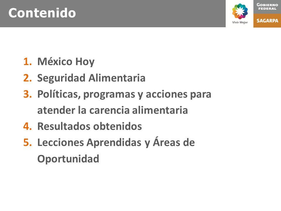 2 Contenido 1.México Hoy 2.Seguridad Alimentaria 3.Políticas, programas y acciones para atender la carencia alimentaria 4.Resultados obtenidos 5.Lecci