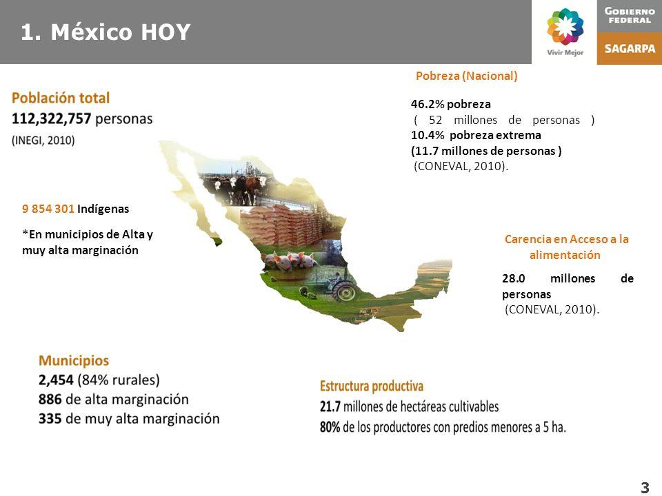 1. México HOY Pobreza (Nacional) 46.2% pobreza ( 52 millones de personas ) 10.4% pobreza extrema (11.7 millones de personas ) (CONEVAL, 2010). Carenci