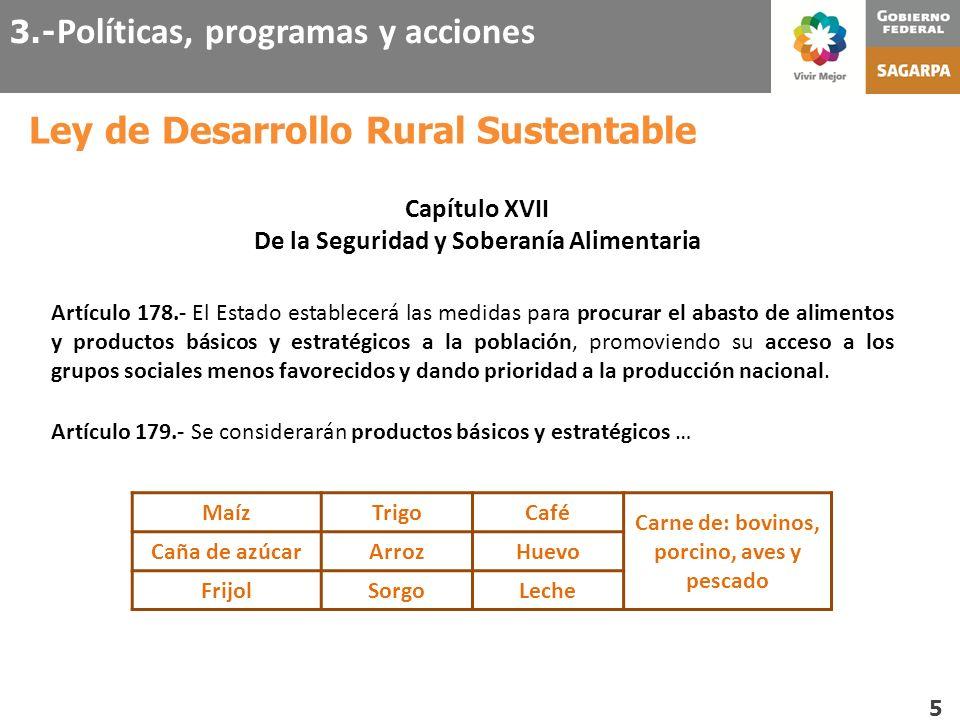 Ley de Desarrollo Rural Sustentable 5 Capítulo XVII De la Seguridad y Soberanía Alimentaria Artículo 178.- El Estado establecerá las medidas para proc