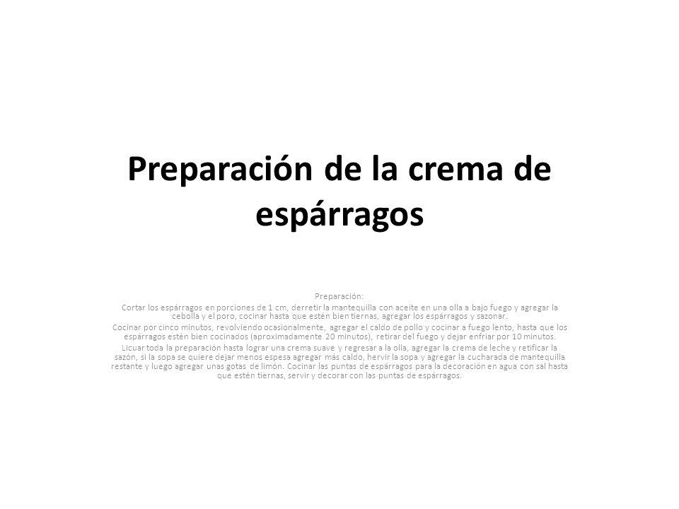 Preparación de la crema de espárragos Preparación: Cortar los espárragos en porciones de 1 cm, derretir la mantequilla con aceite en una olla a bajo f