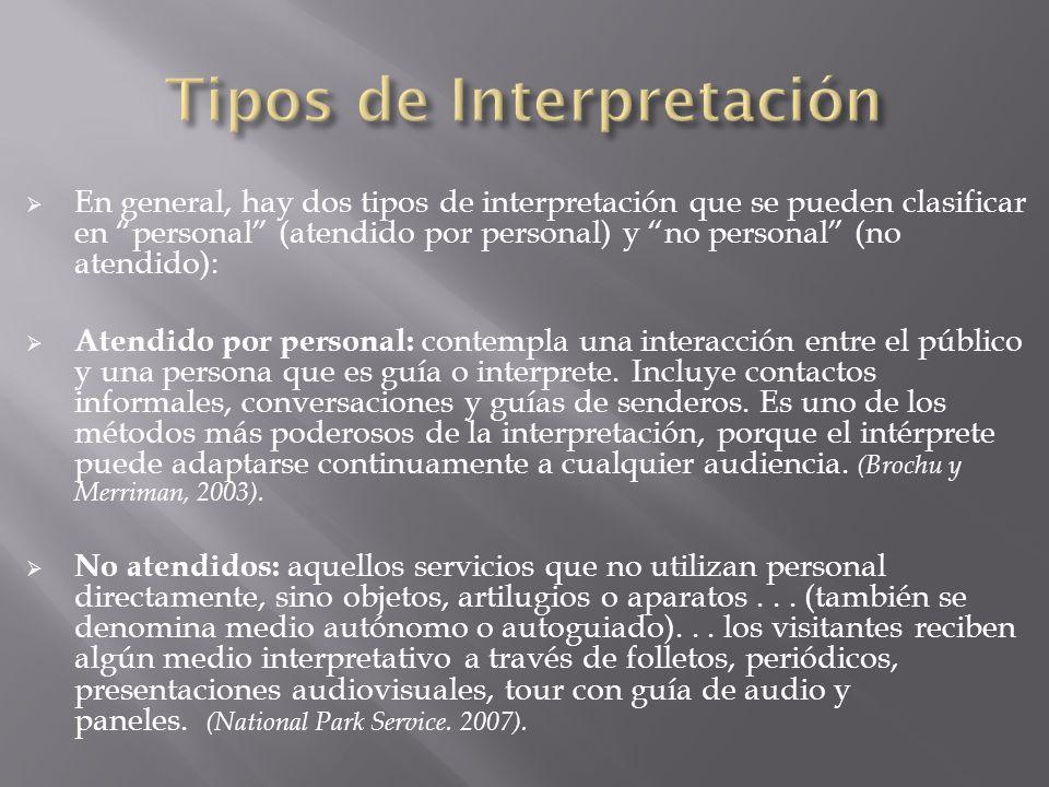 En general, hay dos tipos de interpretación que se pueden clasificar en personal (atendido por personal) y no personal (no atendido): Atendido por per