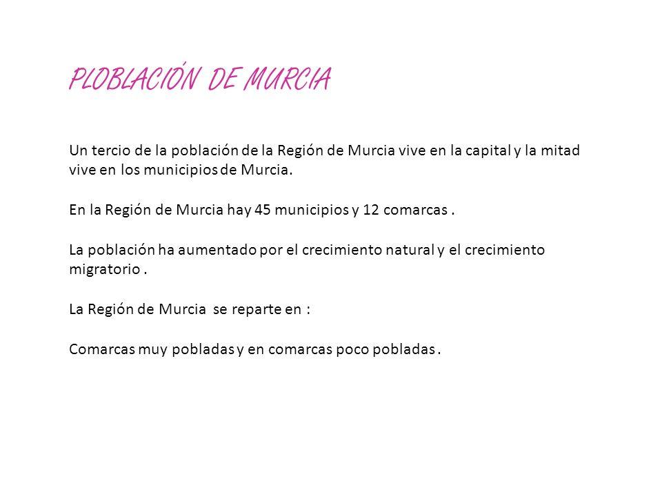 PLOBLACIÓN DE MURCIA Un tercio de la población de la Región de Murcia vive en la capital y la mitad vive en los municipios de Murcia. En la Región de