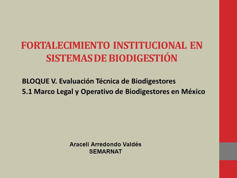 FORTALECIMIENTO INSTITUCIONAL EN SISTEMAS DE BIODIGESTIÓN BLOQUE V. Evaluación Técnica de Biodigestores 5.1 Marco Legal y Operativo de Biodigestores e