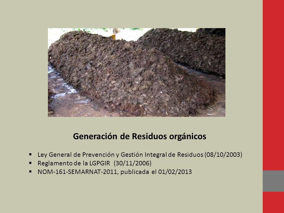 Generación de Residuos orgánicos Ley General de Prevención y Gestión Integral de Residuos (08/10/2003) Reglamento de la LGPGIR (30/11/2006) NOM-161-SE