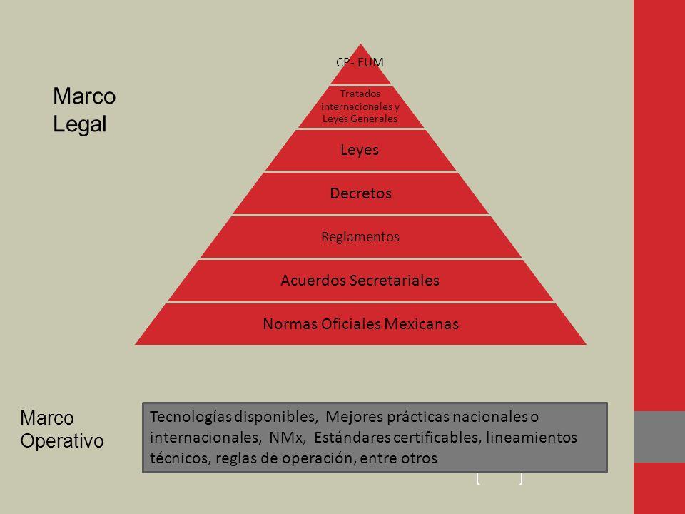 CP- EUM Tratados internacionales y Leyes Generales Leyes Decretos Reglamentos Acuerdos Secretariales Normas Oficiales Mexicanas Marco Legal Marco Oper