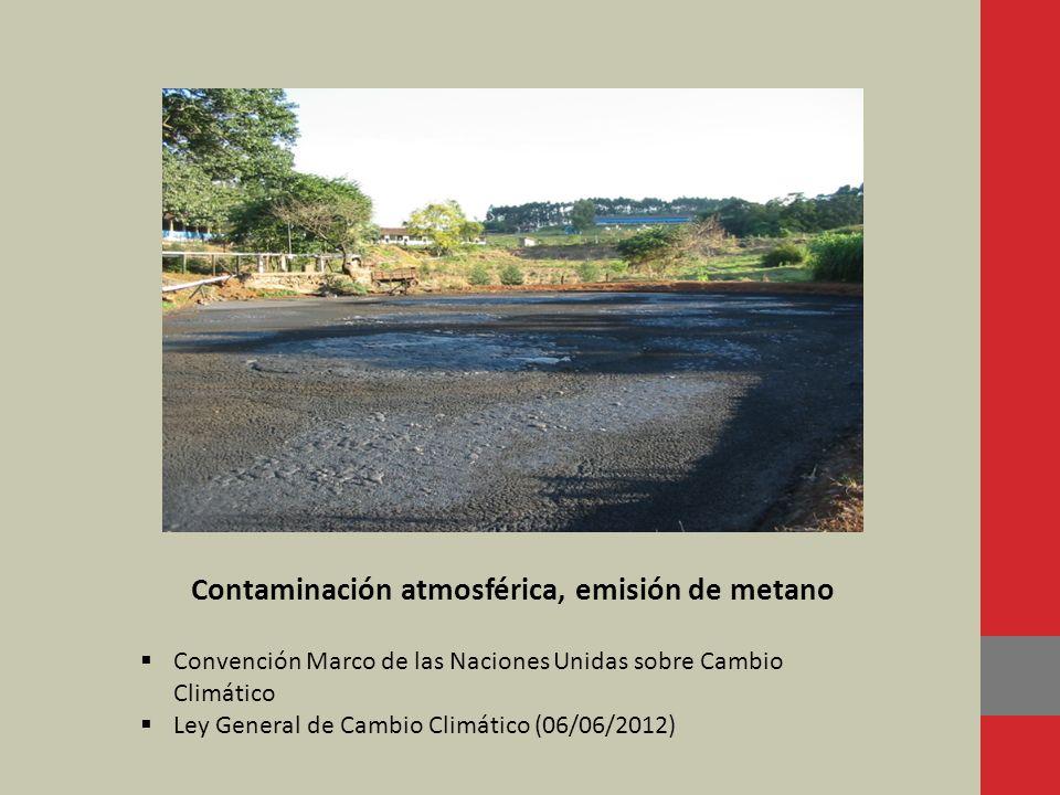 Contaminación atmosférica, emisión de metano Convención Marco de las Naciones Unidas sobre Cambio Climático Ley General de Cambio Climático (06/06/201