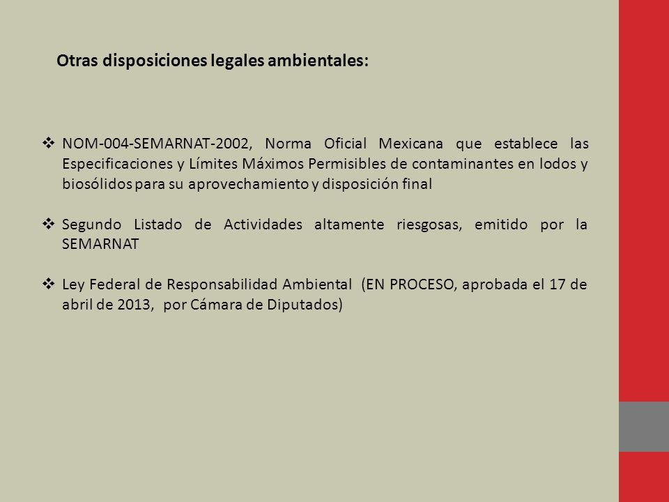 NOM-004-SEMARNAT-2002, Norma Oficial Mexicana que establece las Especificaciones y Límites Máximos Permisibles de contaminantes en lodos y biosólidos