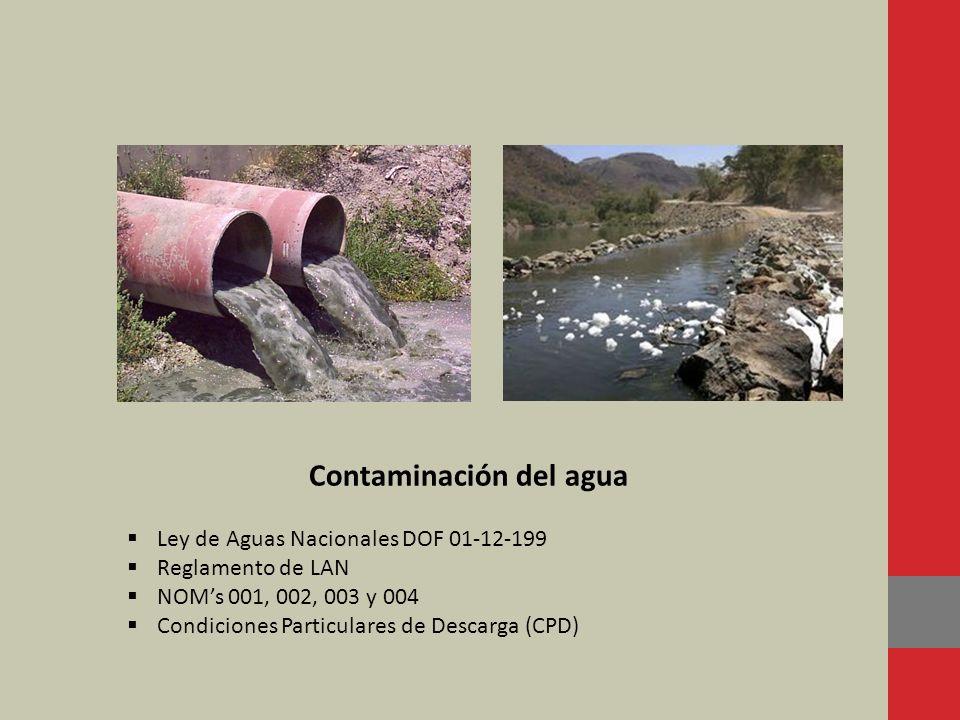 Contaminación del agua Ley de Aguas Nacionales DOF 01-12-199 Reglamento de LAN NOMs 001, 002, 003 y 004 Condiciones Particulares de Descarga (CPD)